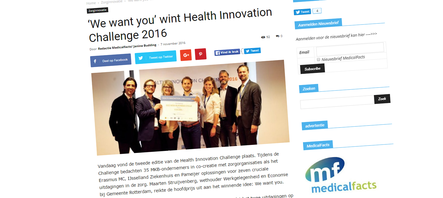 Artikel MedicalFacts: Health Innovation Challenge 2016